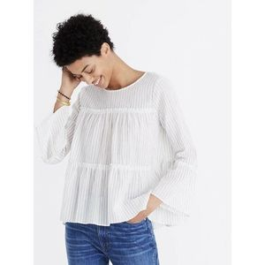 Madewell Tiered Top Haysboro Stripe Med White Blue
